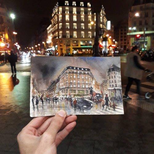 Прекрасный Париж в зарисовках венесуэльского художника Хуана Карлоса Фигеры (22 фото)
