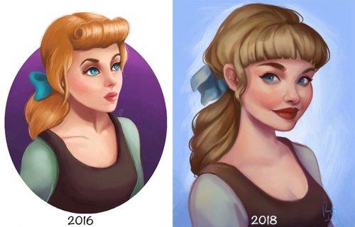 Художница сравнила старые и новые иллюстрации, чтобы наглядно убедиться в улучшении своих навыков (9 фото)