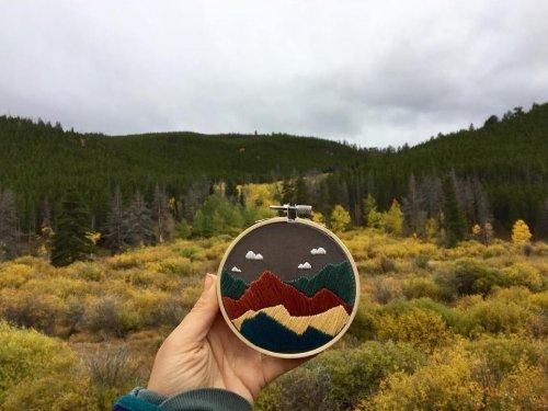 Вышитые пейзажи Скалистых гор, созданные художницей Зои Финн (15 фото)