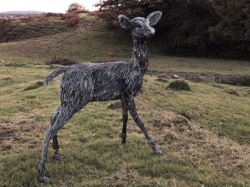 Проволочные скульптуры животных в натуральную величину от Кэндис Биз (12 фото)