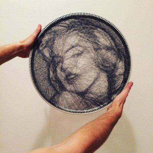 Необычные портреты Сашо Крайнца, созданные с помощью одной нити (16 фото)