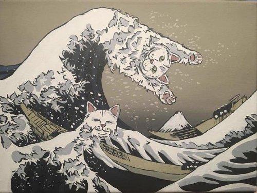 Кошачий сюр в странных картинах Даниала Райана (14 фото)