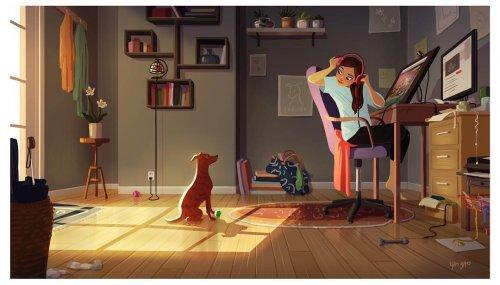 Добрые иллюстрации о том, что владельцы собак никогда не бывают одиноки (20 шт)