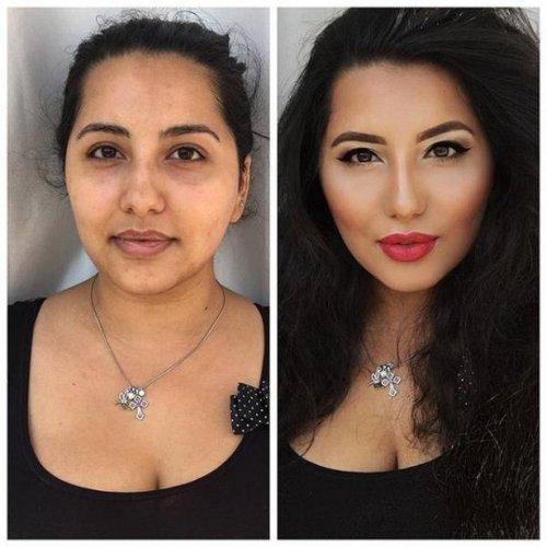 Девушки до и после нанесения макияжа (18 фото)