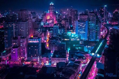 Аэрофотографии городов мира, пропитанные неоновым свечением Шавиером Портелой (9 фото)
