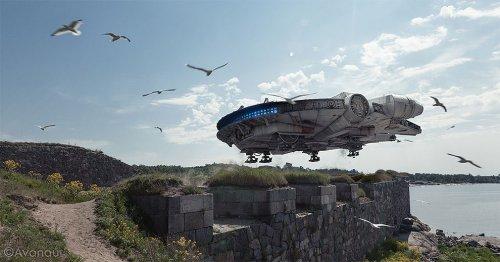 """Крутые фотографии, на которых игрушки, посвящённые """"Звёздным войнам"""", выглядят, как реальные летательные аппараты (25 фото)"""