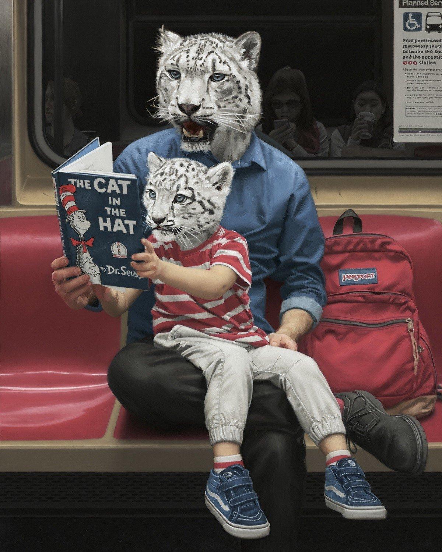 Сюрреалистические портреты пассажиров нью-йоркского метро, созданные х