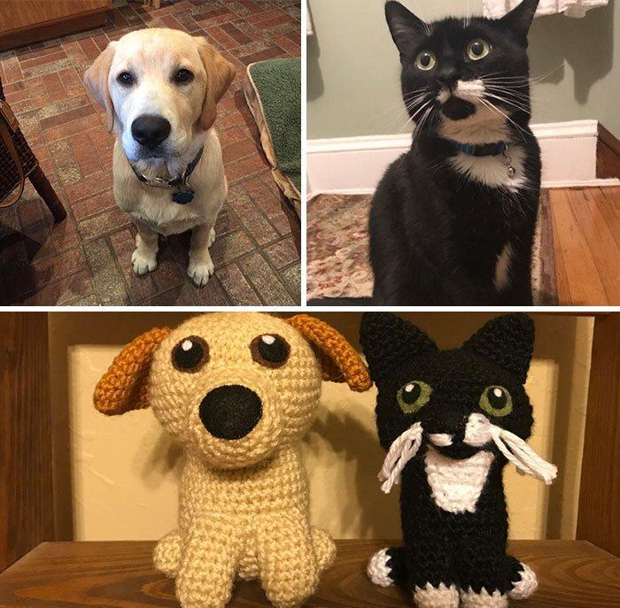 Художница создаёт вязаные копии домашних животных (12 фото)