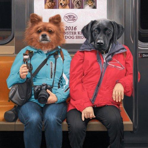 Сюрреалистические портреты пассажиров нью-йоркского метро, созданные художником Мэттью Грабельским (7 фото)