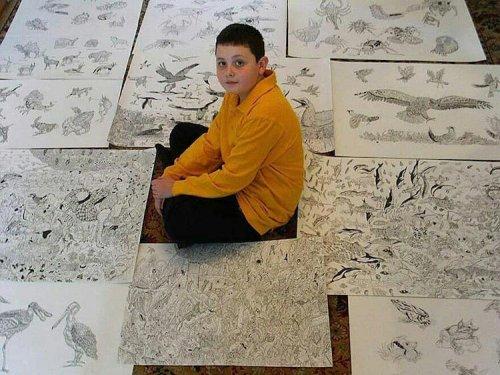 15-летний художник из Сербии рисует по памяти невероятно детализированные изображения животных (14 фото)