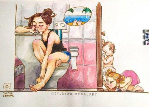 Художница показывает свои родительские будни в серии забавных иллюстраций (9 фото)