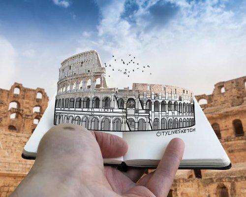 Художник сочетает свои рисунки с фотографией, играя с воображением зрителя (21 фото)