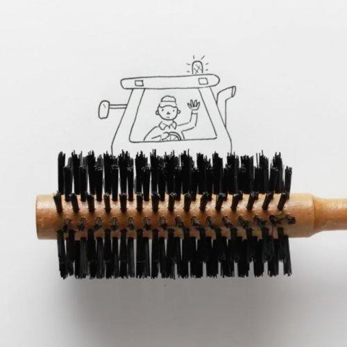 Креативные рисунки Хавьера Переса, созданные с помощью повседневных предметов (18 фото)