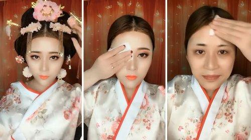 Невероятное преображение азиаток после снятия макияжа (21 фото + видео)