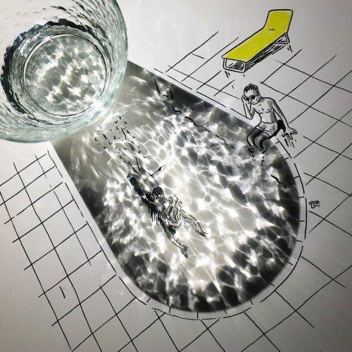 Новые прикольные рисунки с тенями Винсента Баля (23 фото)