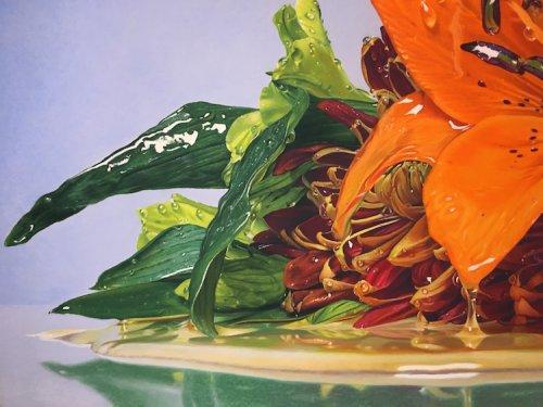 Невероятно реалистичные масляные пастельные рисунки цветов, залитых мёдом (10 фото)