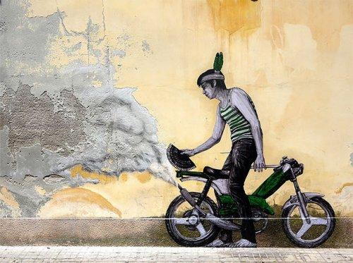 Стрит-арт Levalet, взаимодействующий с окружающей средой (33 фото)