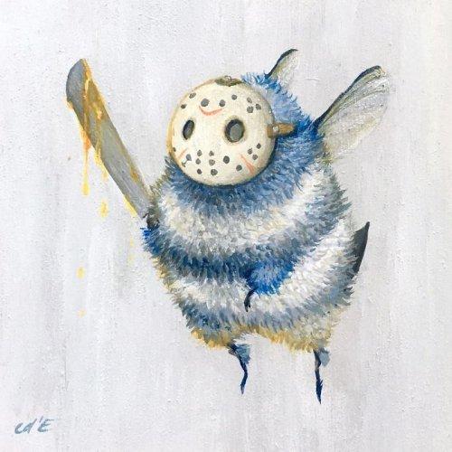 Художница изобразила известных персонажей в виде пчёл (14 фото)
