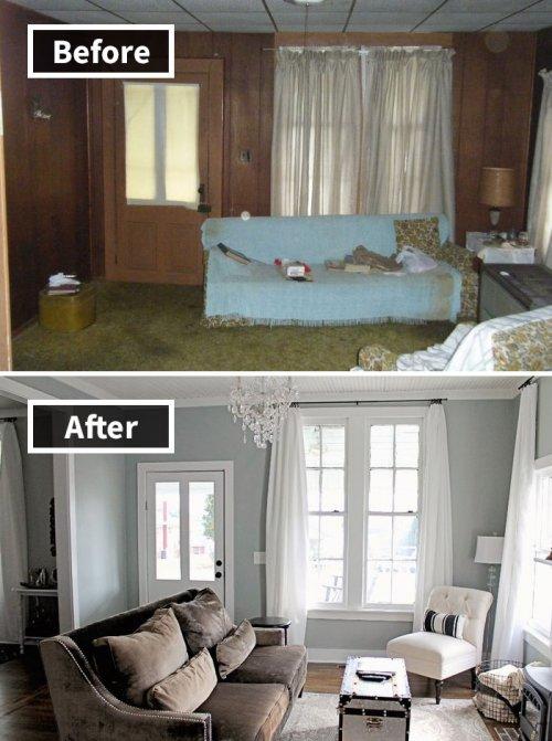 Преображение комнат до и после ремонта (27 фото)