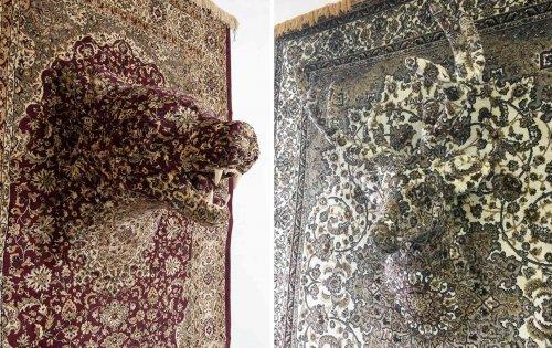 Скульптуры животных из ковров, сделанные в натуральную величину (8 фото)