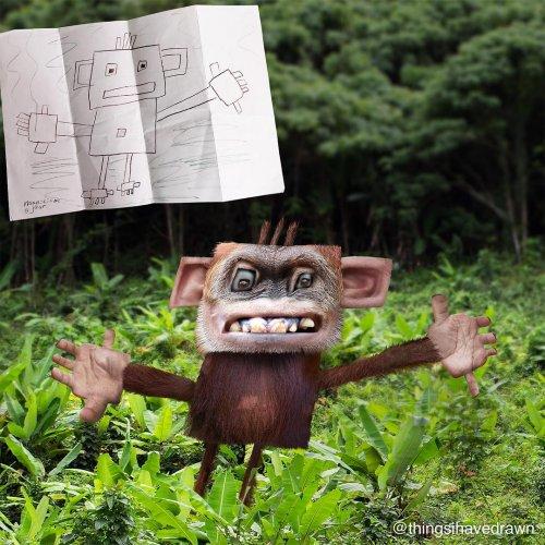 Художник показывает, что было бы, если б детские рисунки стали реальностью (23 фото)