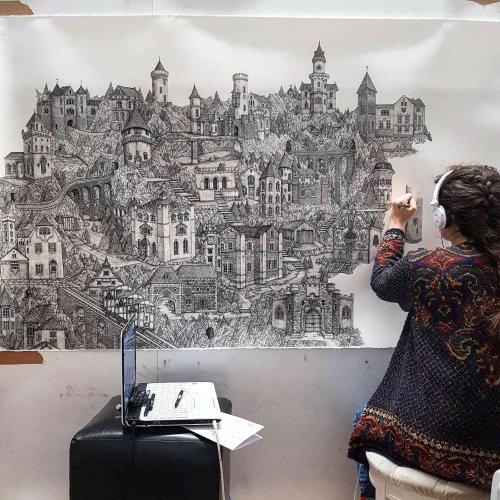Невероятно детализованные чернильные рисунки Оливии Кемп (11 фото)