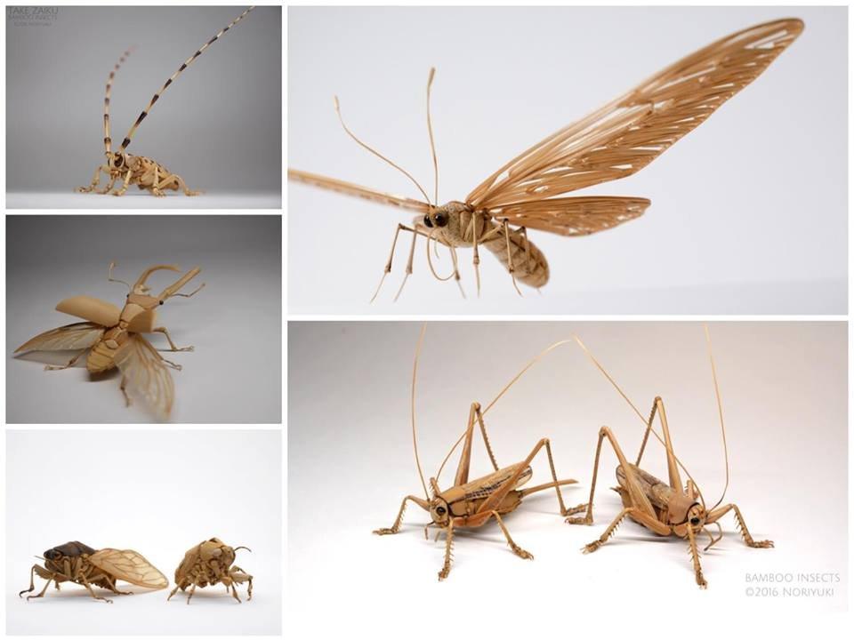 Реалистично выглядящие насекомые из бамбука от Нориюки Саито (15 фото)