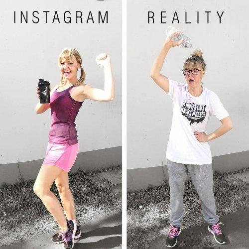 Весёлая немка показывает реальность красивых Instagram-фотографий (24 фото)