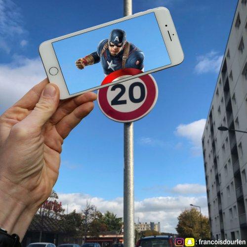 Сцены из фильмов и мультфильмов, внедрённые в реальную жизнь с помощью смартфона (28 фото)