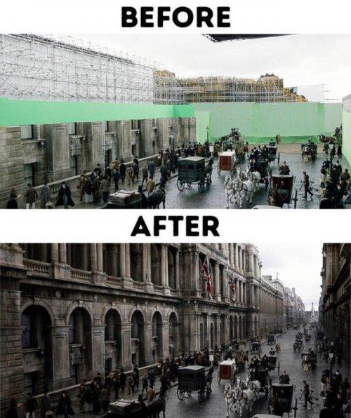 Популярные фильмы до и после добавления спецэффектов (32 фото)