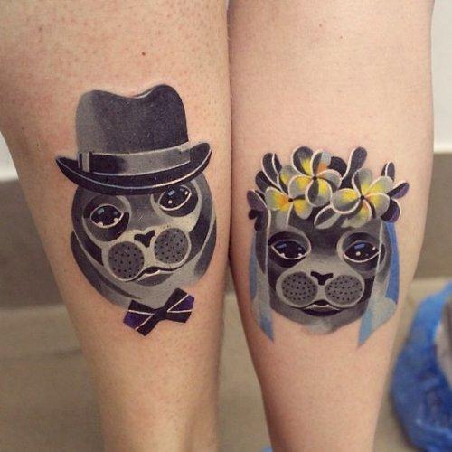 Креативные парные татуировки для тех, кто всему миру хочет заявить о своих отношениях (20 фото)
