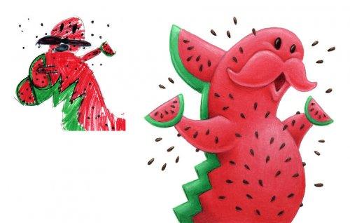 Художник перерисовывает детские рисунки, и у него получаются вот такие забавные существа (30 фото)