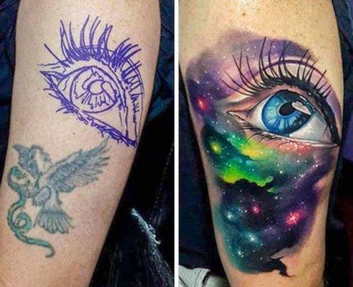 Новые крутые татуировки, которые настоящие мастера своего дела нарисовали поверх старых (21 фото)
