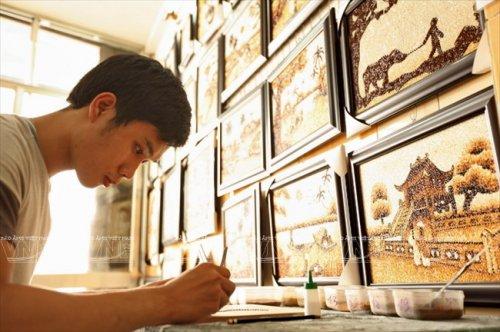 Рисовые картины вьетнамских мастеров (14 фото)