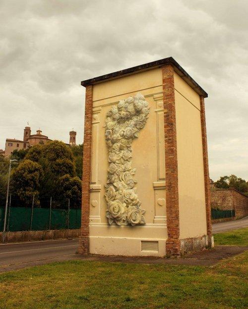Потрясающее граффити художника Eron, которое невероятно похоже на скульптурную композицию (16 фото)