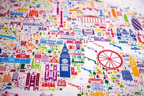 Подробная красочная карта Лондона со знаковыми достопримечательностями (6 фото)