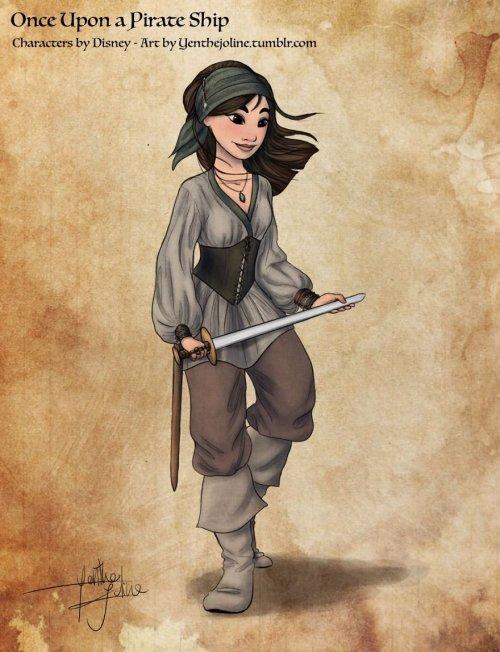 Датская художница превратила диснеевских принцесс в отважных пираток (6 фото)