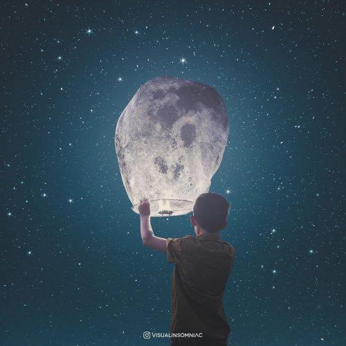 Индонезийский графический дизайнер выразил свою любовь к Луне с помощью цифрового искусства (16 фото)