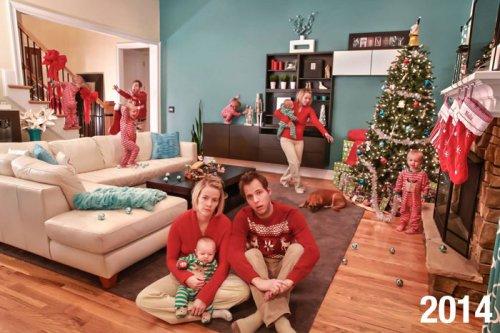 """Семья каждый год делает """"реалистичные"""" рождественские открытки вместо традиционных, и по мере взросления детей они становятся всё безумнее (5 фото)"""
