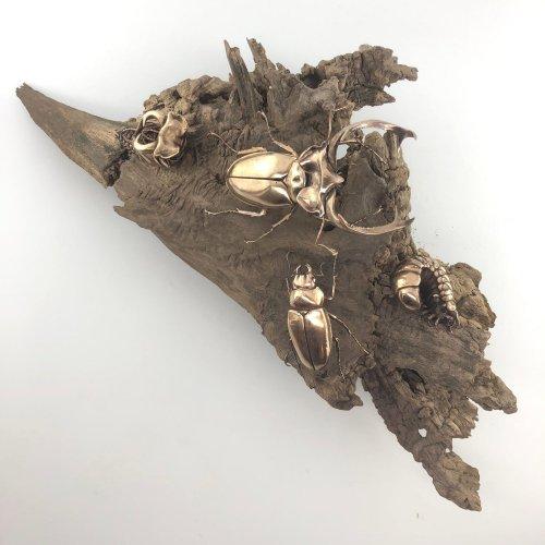 Бронзовые реплики древних окаменелостей и современных насекомых, созданные преподавателем биохимии (13 фото)