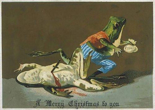 Причудливые и мрачные рождественские открытки, которые были популярны в Викторианскую эпоху (25 фото)