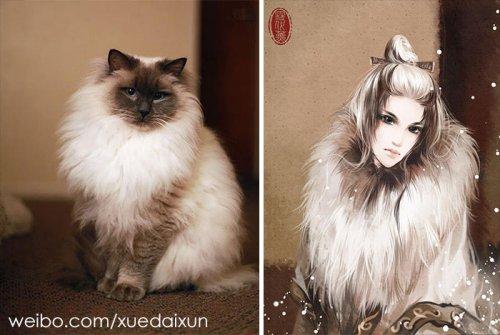 Художница из Китая перевоплощает кошек и собак в людей, и сходство с оригиналом просто невероятно! (21 фото)