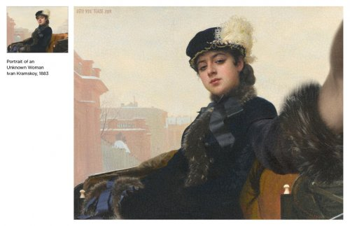 Художник изобразил героев известных классических картин, делающих селфи (12 фото)