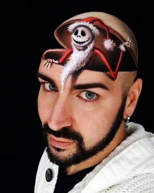 Итальянский визажист, который создаёт невероятные иллюзии на своей голове (15 фото)