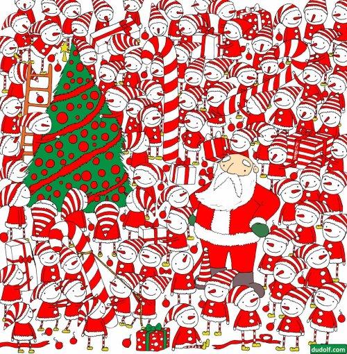 Рождественские картинки-загадки от художника Dudolf (4 фото)
