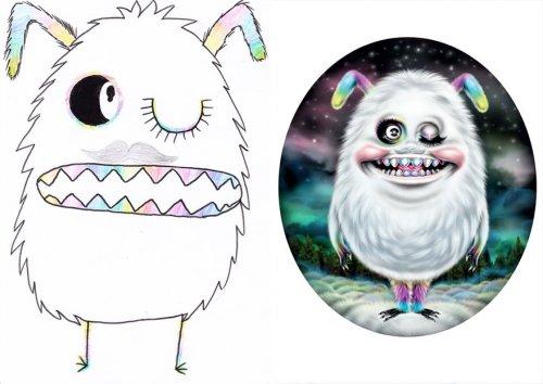 Профессиональные художники перерисовывают детские рисунки монстров, превращая их в уникальных персонажей (33 фото)