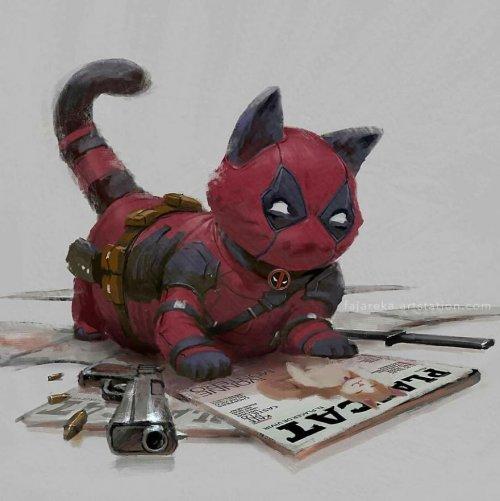 Муррстители: художник изобразил супергероев комиксов в виде кошек (5 фото)
