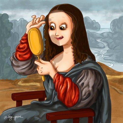 Художница изобразила, что происходило по ту сторону холста во время создания знаменитых картин (12 фото)