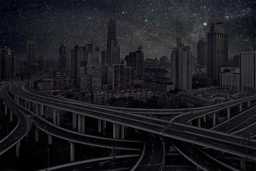 Французский художник показывает, как выглядят города, освещённые только звёздами (10 фото)