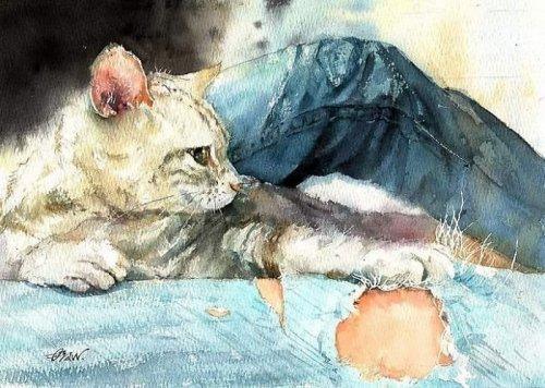 Китайский художник показывает жизнь кошек в своих акварельных рисунках (23 фото)